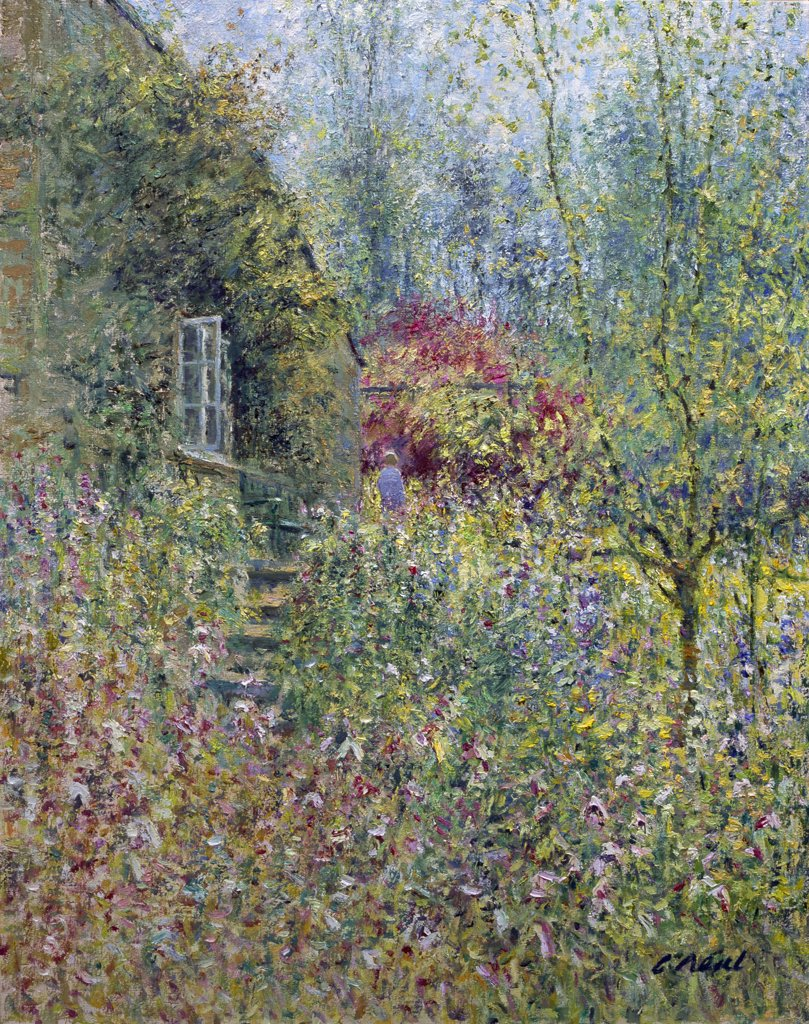 Stock Photo: 1061-18391 Cottage Garden, Partridge Lane, Rendcomb, Gloucestershire. Morning, June.