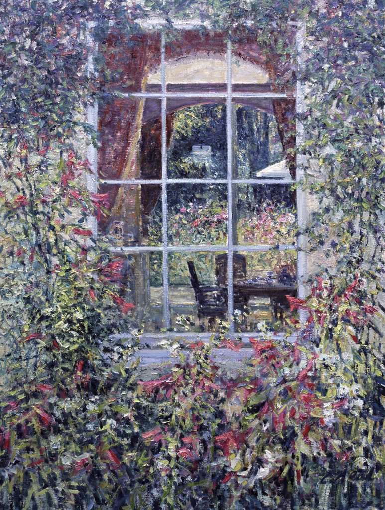 Stock Photo: 1061-18420 View through to the Italianate courtyard, Highnam Court, Highnam, Gloucestershire, Charles Neal, (b.1951/British), Oil on canvas