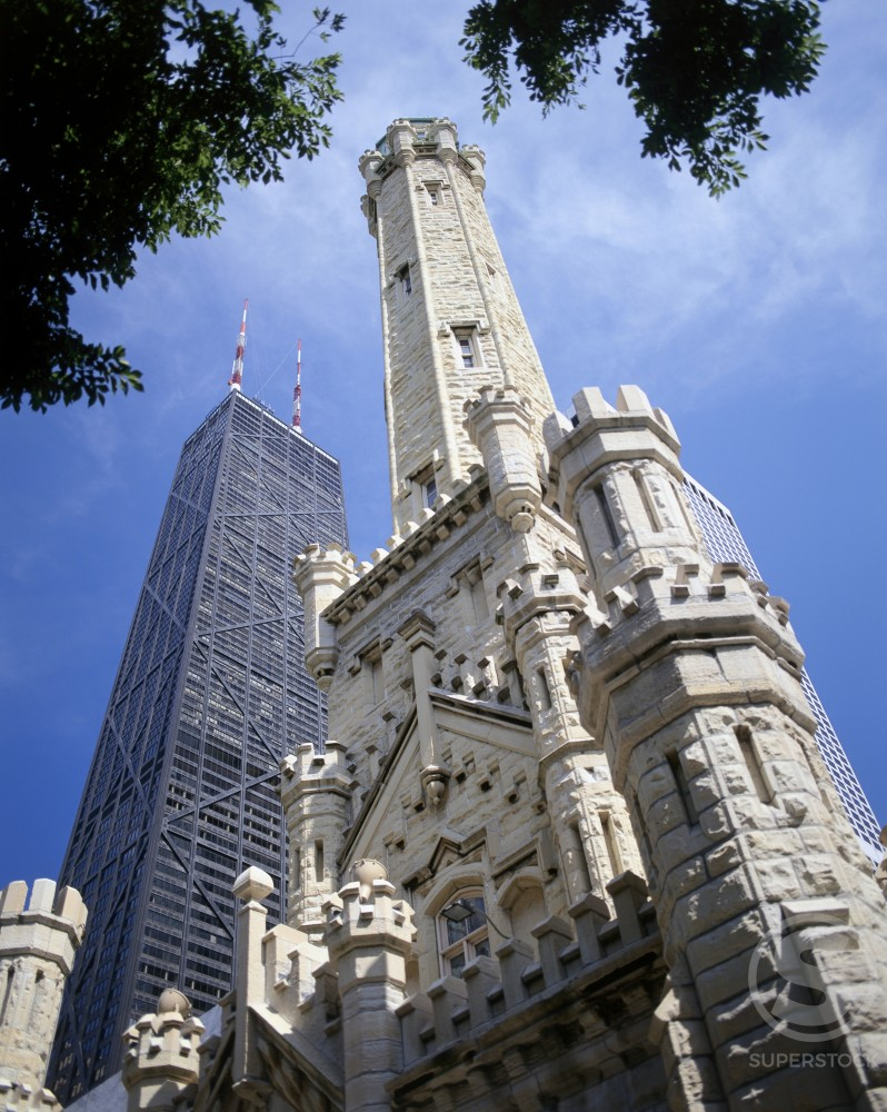 Stock Photo: 1070-248 Low angle view of skyscrapers in a city, Water Tower, Hancock Building, Chicago, Illinois, USA