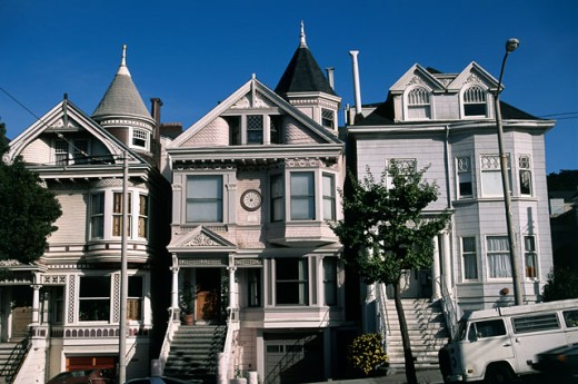 Stock Photo: 1070-571 Facade of buildings, Haight-Ashbury, San Francisco, California, USA