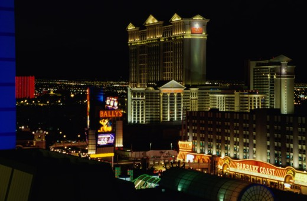 Stock Photo: 1070R-996 Buildings lit up at night, Las Vegas, Nevada, USA