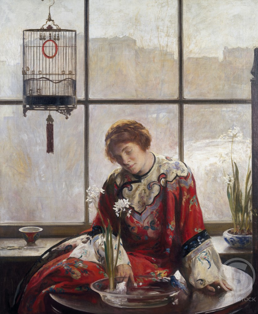 Stock Photo: 1075-114 The Red Kimono 1920Joseph Rodefer de Camp (1858-1923 /American) Oil on canvas The Cummer Museum of Art and Gardens, Jacksonville, Florida