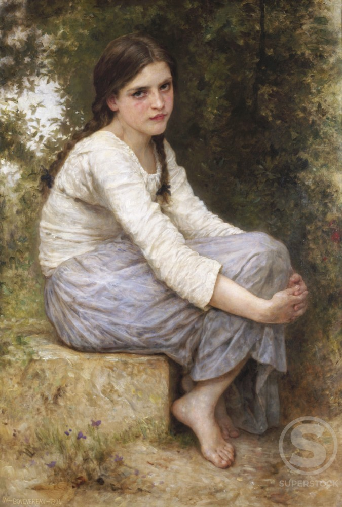 Stock Photo: 1075-136 Day Dreams  Adolphe William Bouguereau (1825-1905/French)  Oil on Canvas  The Cummer Museum of Art and Gardens, Jacksonville, Florida