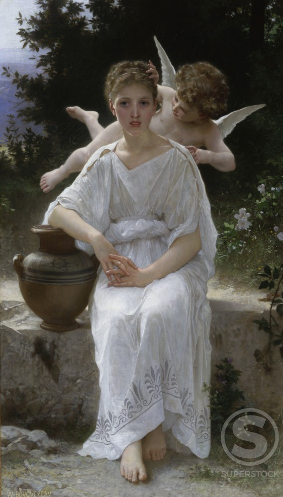 Stock Photo: 1075-138 Young Love  William-Adolphe Bouguereau (1825-1905/ French) Oil on Canvas The Cummer Museum of Art and Gardens, Jacksonville, Florida