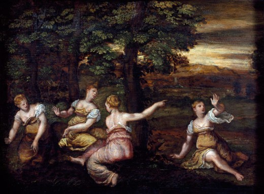 Stock Photo: 1075-164 Girls In A Wood (Fragment)