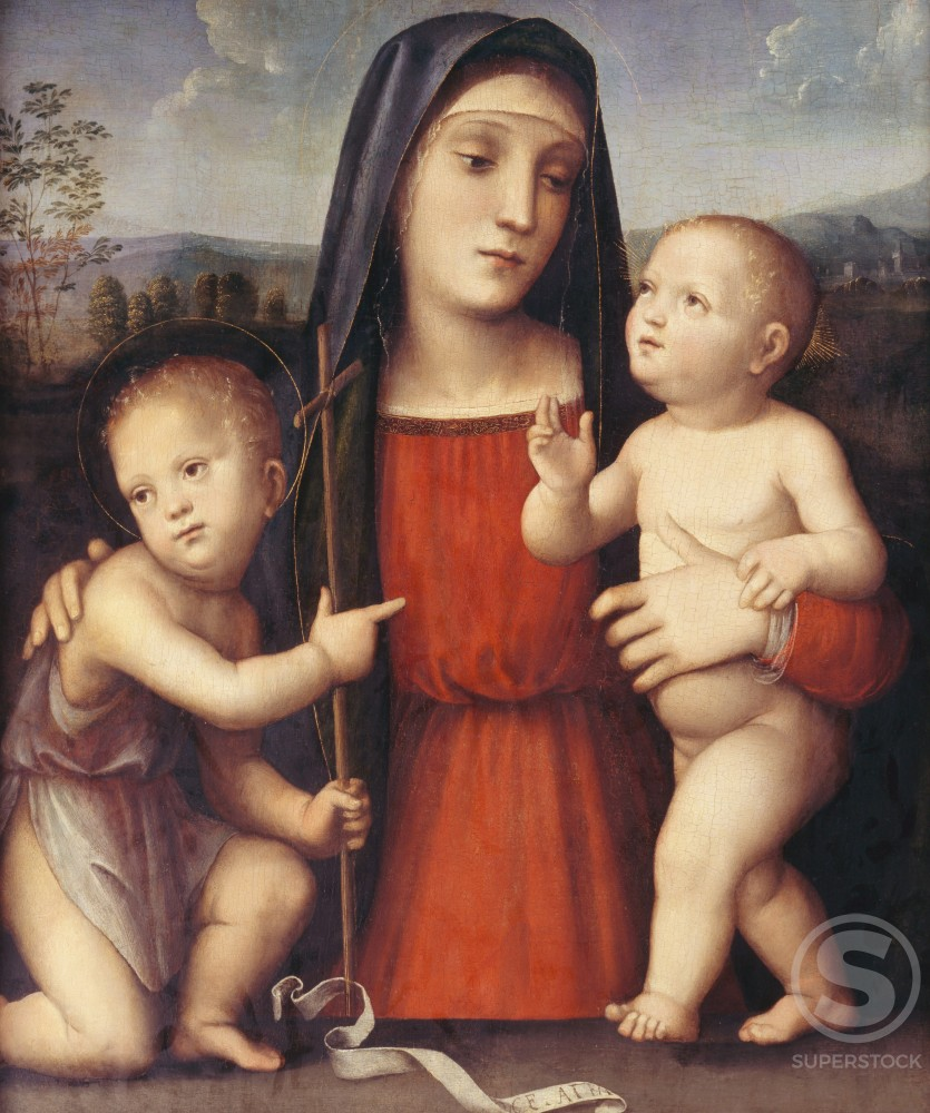 Stock Photo: 1075-177 Madonna, Child,  and St. John 