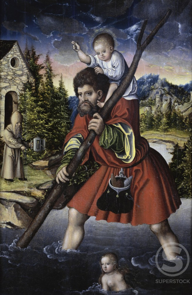 Stock Photo: 1075-181 St. Christopher and the Christ Child 