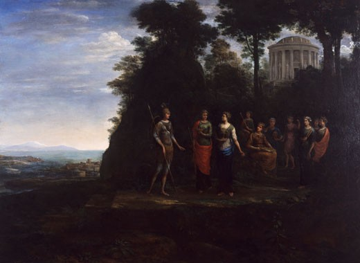 Stock Photo: 1075-197 Minerva Visiting the Muses on Mount Parnassus by Claude Lorrain,  oil on canvas,  1680,  (1600-1682),  USA,  Florida,  Jacksonville,  The Cummer Museum of Art and Gardens