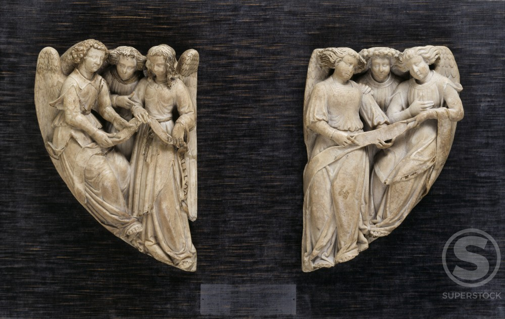 Pair of Reliefs Representing Singing Angels
