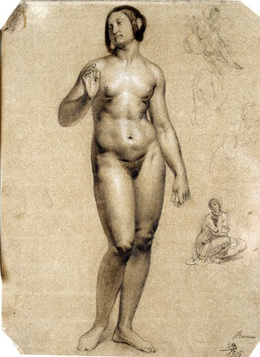 Standing Academic Nude with Four Studies