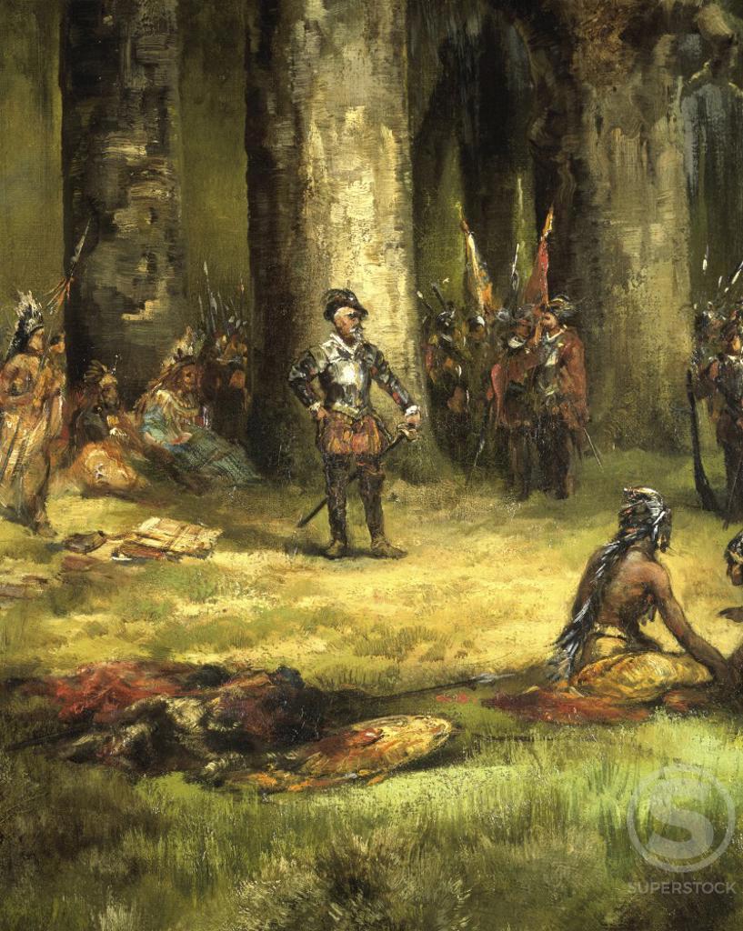 Ponce de Leon in Florida, 1513 (detail) 1878 Thomas Moran (1837-1926/American) Oil on canvas Cummer Museum of Art & Gardens, Jacksonville, Florida  : Stock Photo
