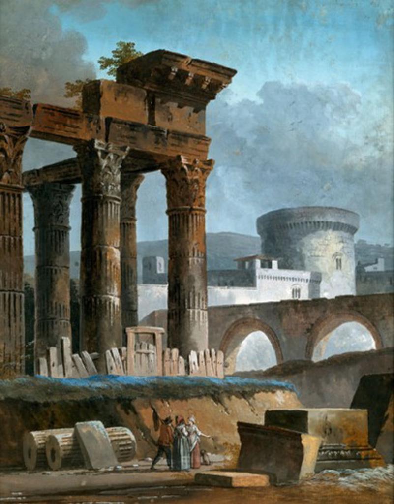 Stock Photo: 1075-297 Classical Capriccio C.1790 Charles Louis Clerisseau (1722-1820 French) Gouache Cummer Museum of Art & Gardens, Jacksonville, FL
