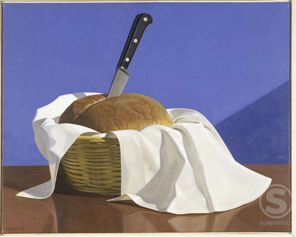 Stock Photo: 1075-301 Still Life, Bread and Knife