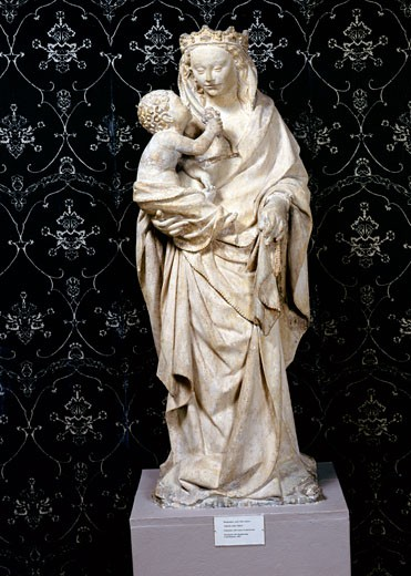 Stock Photo: 1075-329 Virgin and Child,  limestone,  15th Century,  USA,  Florida,  Jacksonville,  The Cummer Museum of Art and Gardens