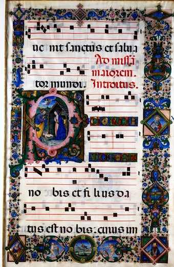 Stock Photo: 1075-330 Choral Book: Opening of the Christmas Mass,  manuscript illustration,  Circa 1450-60,  USA,  Florida,  Jacksonville,  The Cummer Museum of Art and Gardens