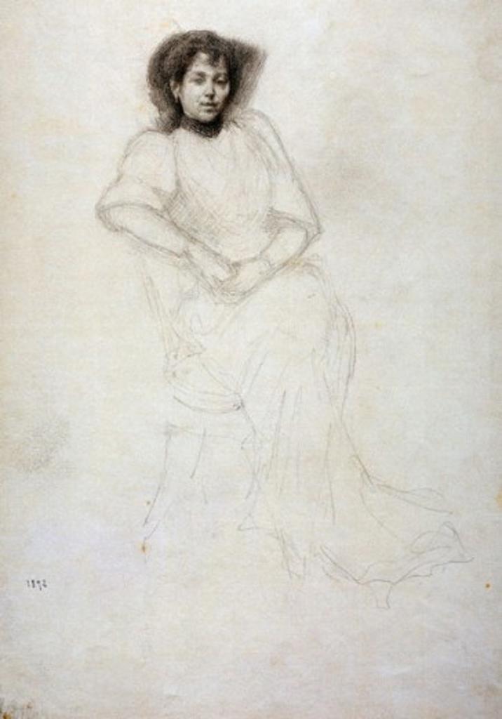 Stock Photo: 1075-350 The Artist's Wife, Mrs. Charvot  1892 Charvot, Eugene(1847-1924 French) Drawing Cummer Museum of Art & Gardens, Jacksonville, FL