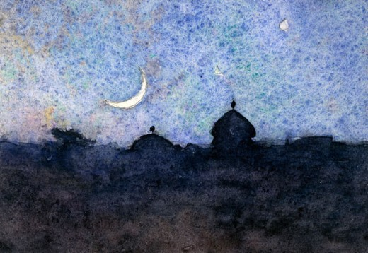 Stock Photo: 1075-358 Night Landscape With Cresent Moon 