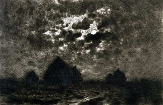 Stock Photo: 1075-380 View Of Haystacks At Night 