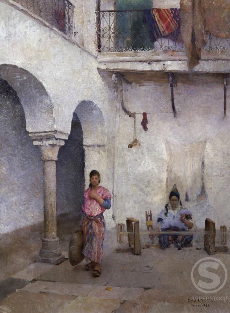 Stock Photo: 1075-391 Jewish Quarter, Tunis 1888 Eugene Charvot (1847-1924 French) Cummer Museum of Art & Gardens, Jacksonville, FL