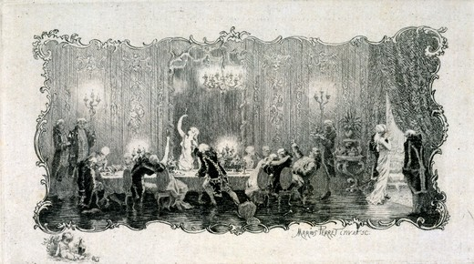 Dinner Party by Marius Perret,  (1853-1900),  USA,  Florida,  Jacksonville,  The Cummer Museum of Art and Gardens : Stock Photo