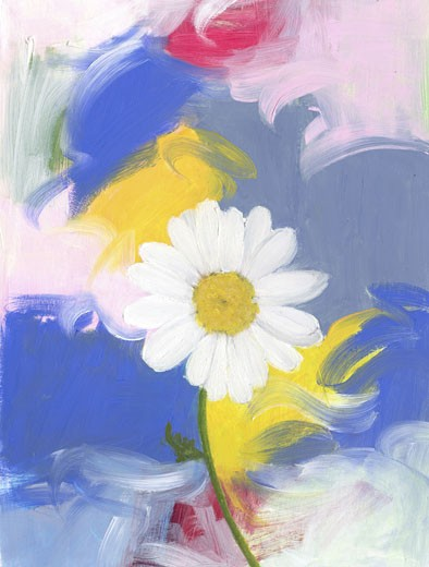 Stock Photo: 1078-19031 Big Daisy 2004 Patricia Brown (20th C. American) Oil Private Collection