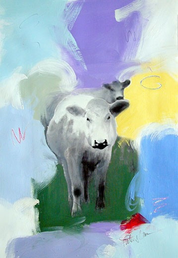 Stock Photo: 1078-19032 Cows 2003 Patricia Brown (20th C. American) Oil & Mixed Private Collection