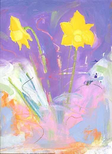 Daffodils 2005 Patricia Brown (20th C. American) Oil Private Collection : Stock Photo