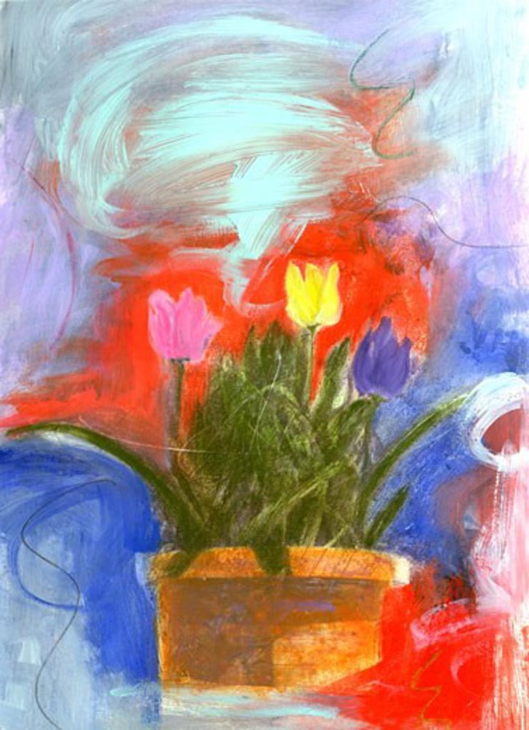 Tulip Pot 2003 Patricia Brown (20th C. American) Oil Private Collection : Stock Photo