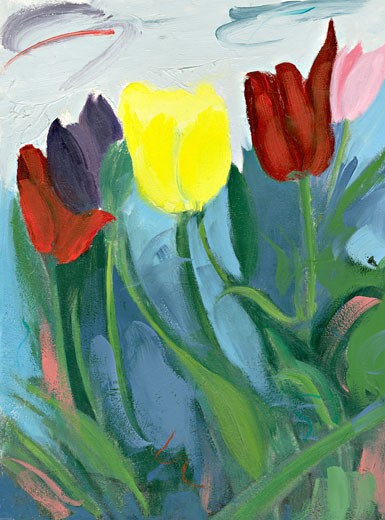 Tulips 2003 Patricia Brown (20th C. American) Oil Private Collection : Stock Photo