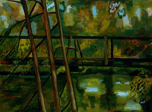 Stock Photo: 1085-21076 Santa Fe River Footbridge 2005 Elizabeth Barakah Hodges(21st C. American) Acrylic On Paper