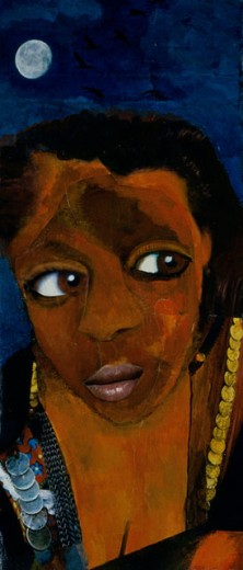 Stock Photo: 1085-21088 Woman By Moonlight 1997 Elizabeth Barakah Hodges (21st C. American) Acrylic+Collage on Canvas