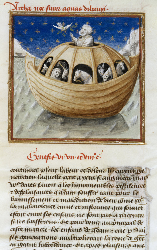 Stock Photo: 1095-113 Noah's Ark 15th c. Manuscripts(- ) Newberry Library, Chicago, Illinois, USA