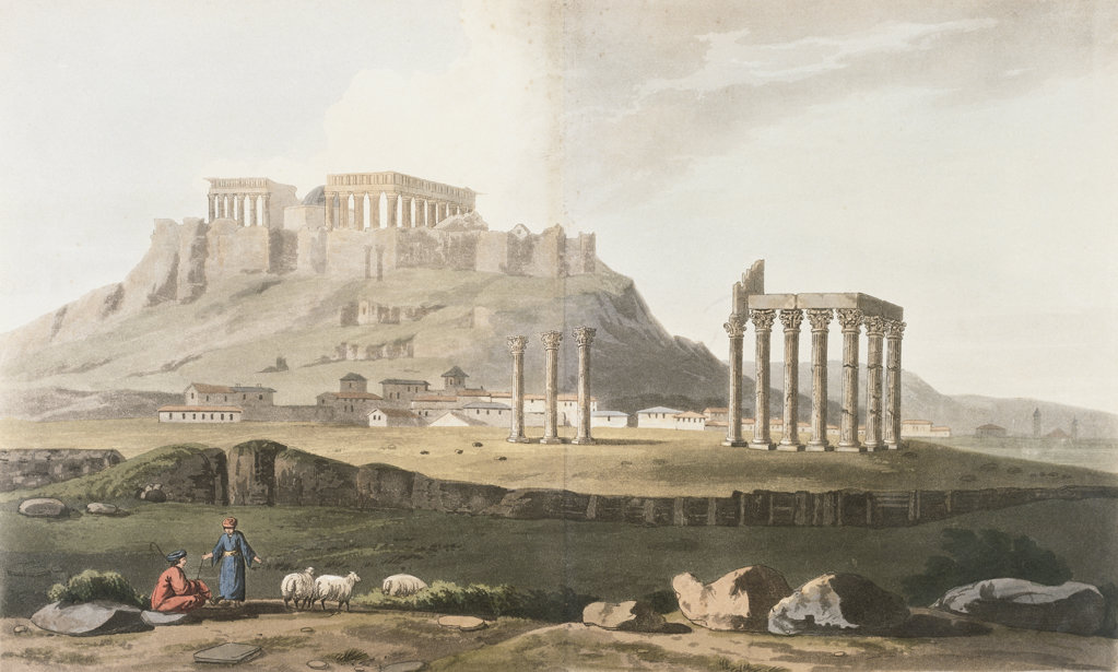 Stock Photo: 1095-1136 Ruins Of Hadrian's Temple, The From Journey Through Albania And Turkey