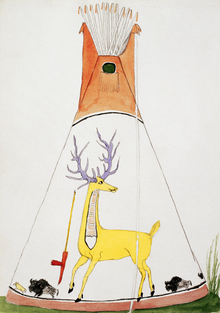 "Teepee with Large Yellow Deer & Small Buffalo (From ""Hawgone (Silver Horn)"" Silverhorn (Native American 1861-1940) American History Newberry Library, Chicago  : Stock Photo"