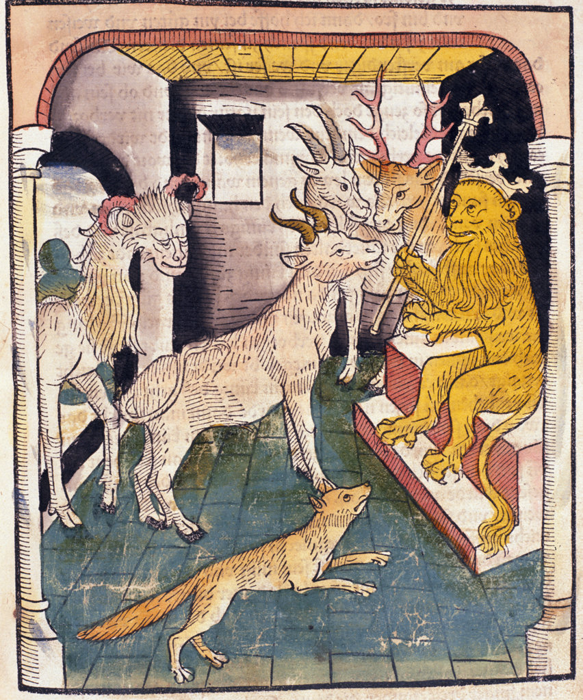 Stock Photo: 1095-1154 Lion King with Deer and Fox in court,  from Buch der Weisheit der Alten Weisen,  USA,  Illinois,  Chicago,  Newberry Library,  1483