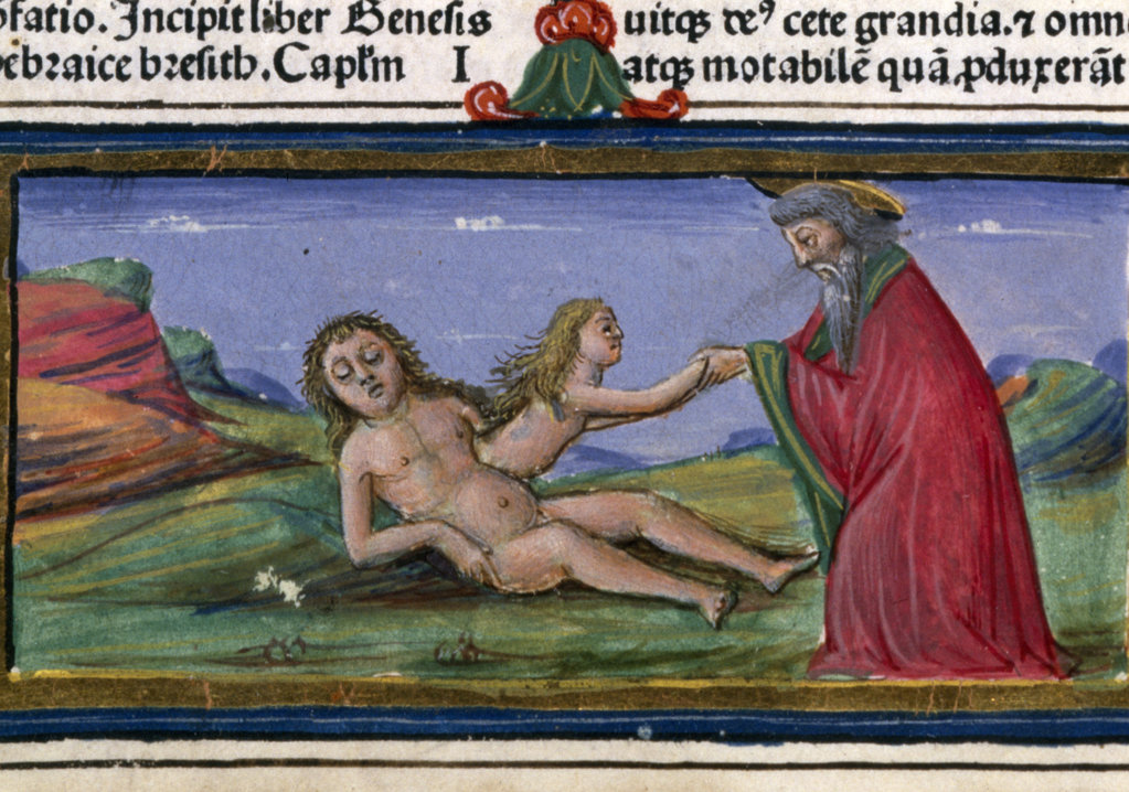 Detail of Adam and Eve,  1480 Vulgate,  manuscript,  USA,  Chicago,  Newberry Library : Stock Photo