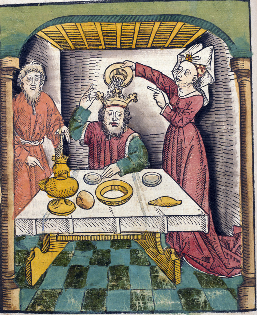 Stock Photo: 1095-1171 King with servants,  one pouring something in crown,  from Buch der Weisheit der alten Weisen,  USA,  Illinois,  Chicago,  Newberry Library,  1483