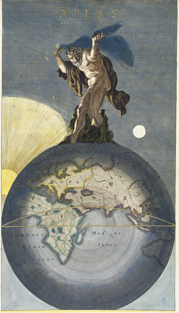 Atlas  17th C. Justus Danckerts (active 1660-1692/Dutch) Illustration  : Stock Photo