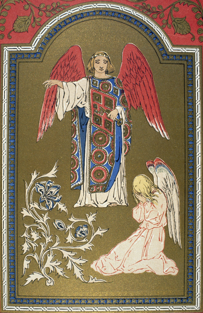 Stock Photo: 1095-1248 Angel with red wings hovering over mourning angel,  from Paradise and the Peri by Moore,  USA,  Illinois,  Chicago,  Newberry Library,  1860