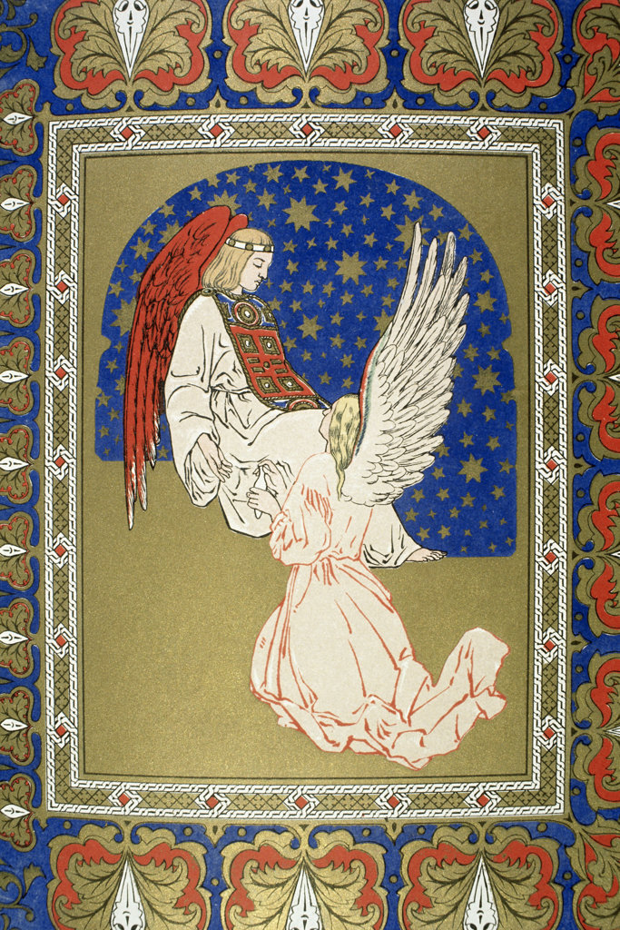 Stock Photo: 1095-1251 Angel with Red Wings and Another at its Knees