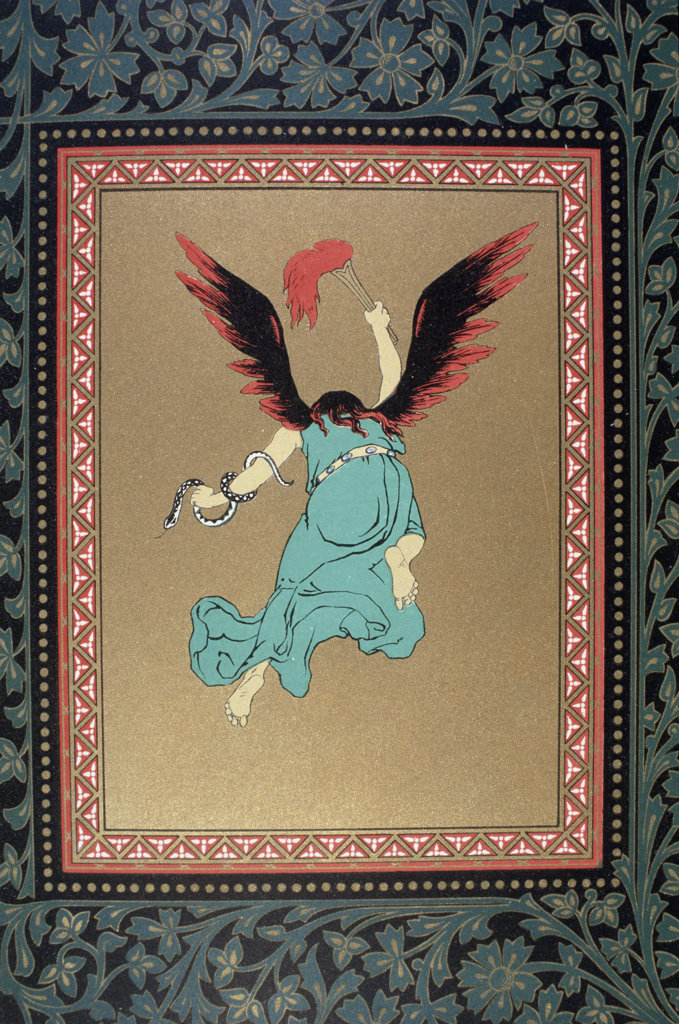 Stock Photo: 1095-1252 An Angel with Flame Red Wings and a Snake Around Its Arm