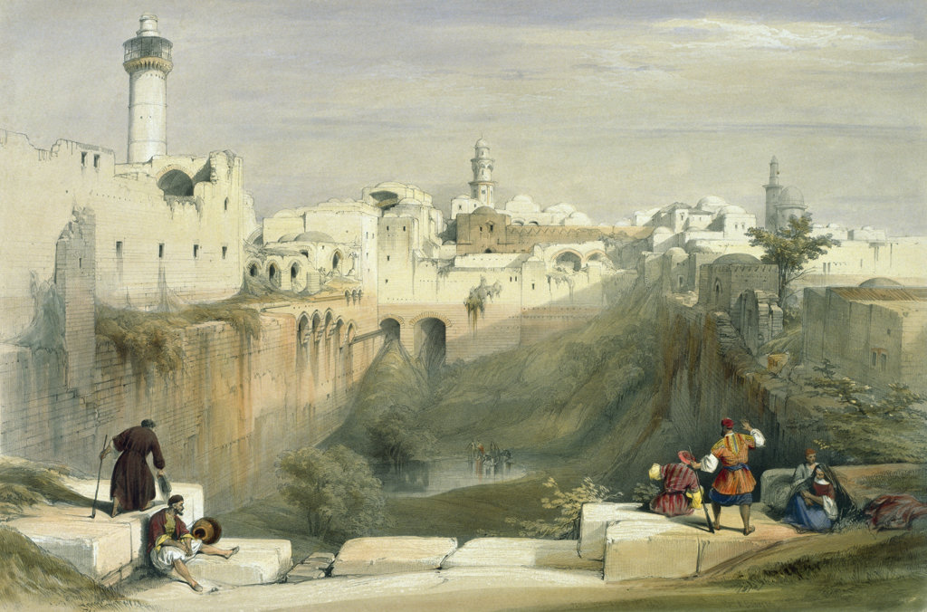 "The Pool of Bethesda (from ""The Holy Land: Syria, Idumea, Arabia...) 1842 David Roberts (1796-1864 Scottish) Illustration Newberry Library, Chicago : Stock Photo"