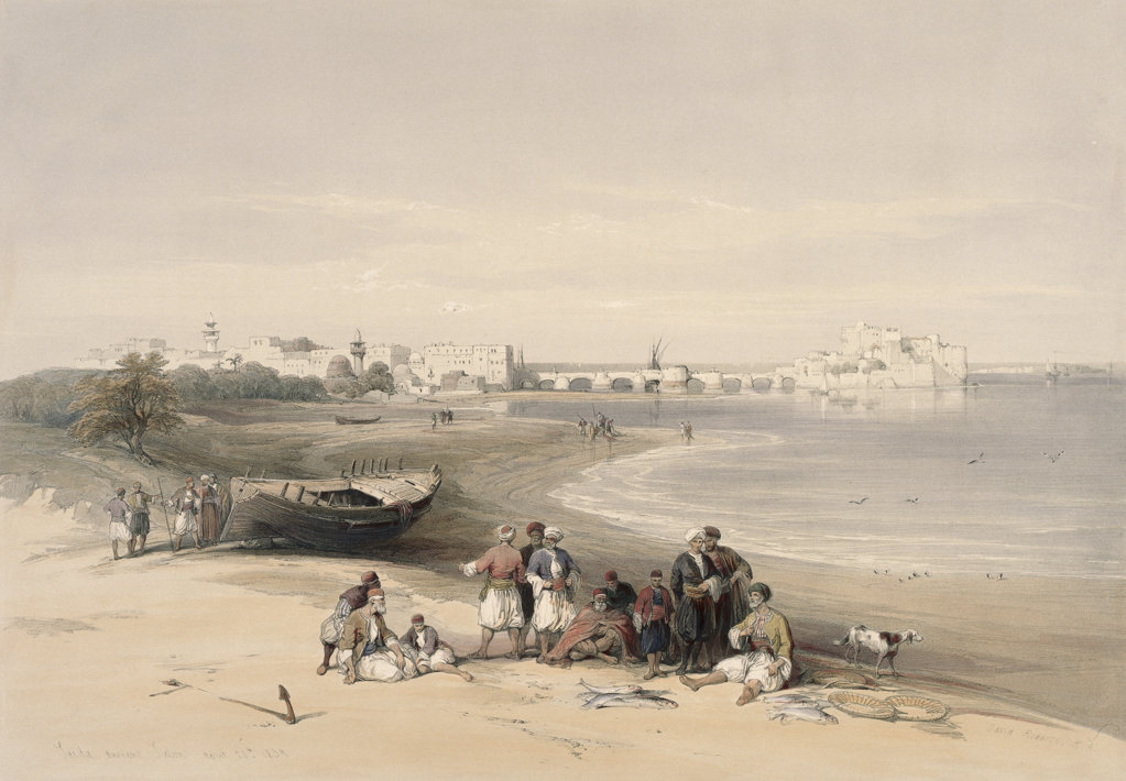 "Stock Photo: 1095-1270 Sidon (From ""The Holy Land: Syria, Idumea, Arabia.....) 1839 David Roberts (1796-1864 Scottish) Illustration Newberry Library, Chicago, Illinois, USA"