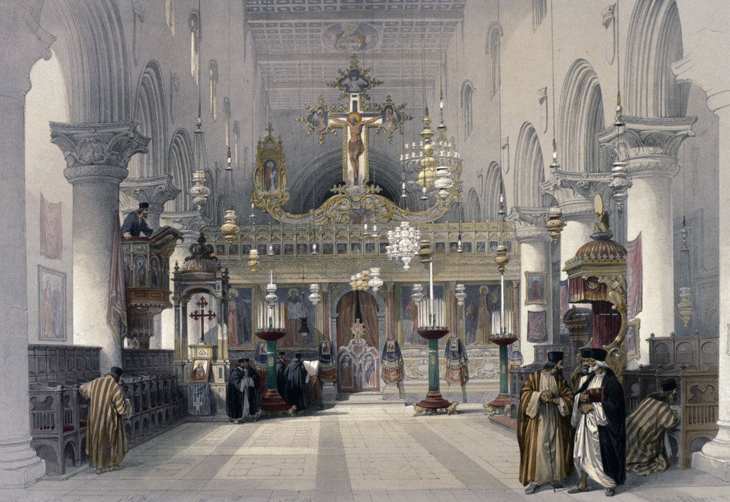 Stock Photo: 1095-1277 Interior of the Chapel of St. Catherine,  from The Holy Land: Syria,  Idumea,  Arabia,  by David Roberts,  (1796-1864),  USA,  Illinois,  Chicago,  Newberry Library