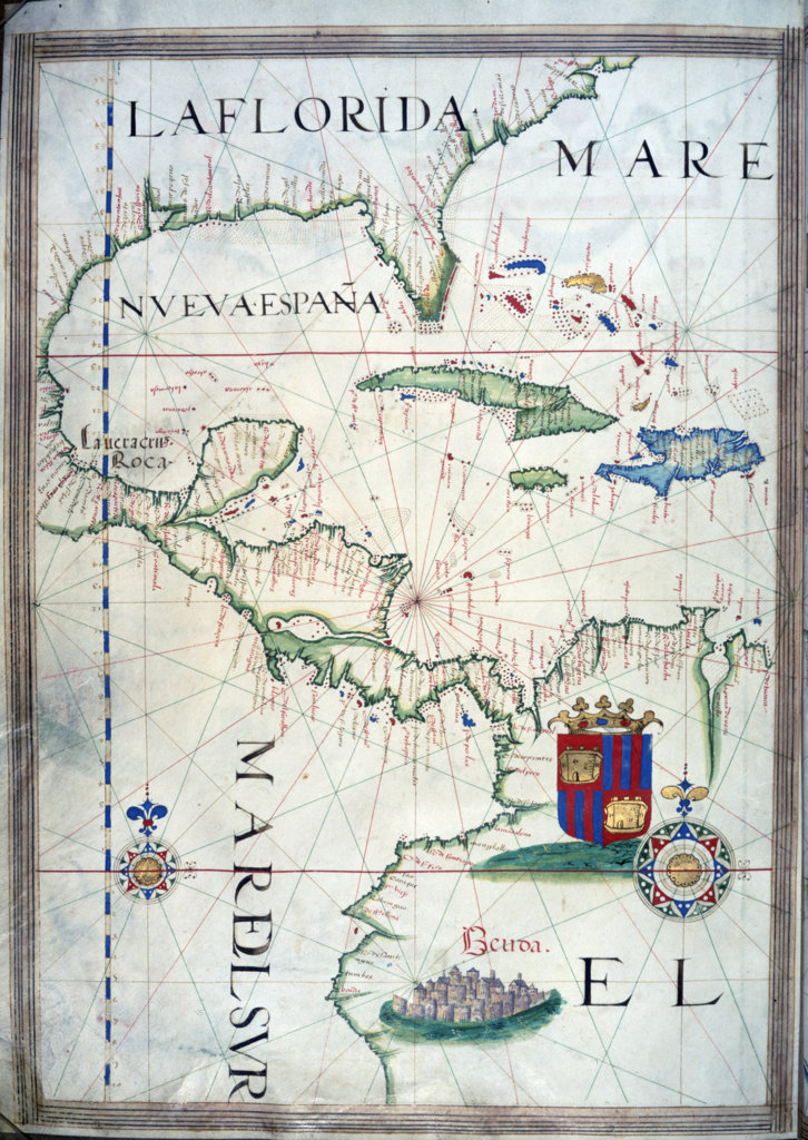 Gulf of Mexico by Sebastiano Lopes from Portolan Atlas,  1546,  USA,  Chicago,  Newberry Library : Stock Photo