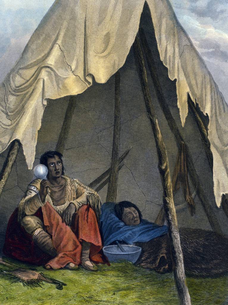 Stock Photo: 1095-1286 Medicine Man Administering to a Patient by Seth Eastman from The American Aboriginal Portfolio by Mary Eastman,  1853,  (1808-1878),  USA,  Chicago,  Newberry Library