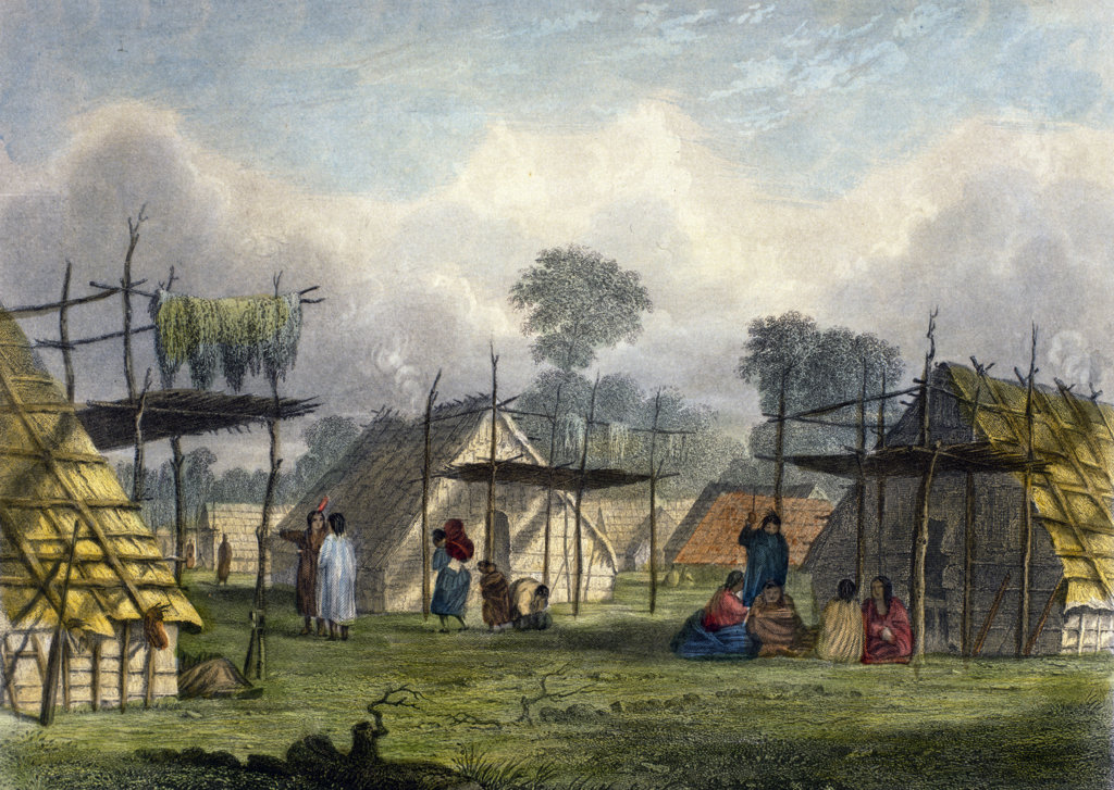 Dakota Village by Seth Eastman from The American Aboriginal Portfolio by Mary Eastman) 1853,  (1808-1878),  USA,  Chicago,  Newberry Library : Stock Photo