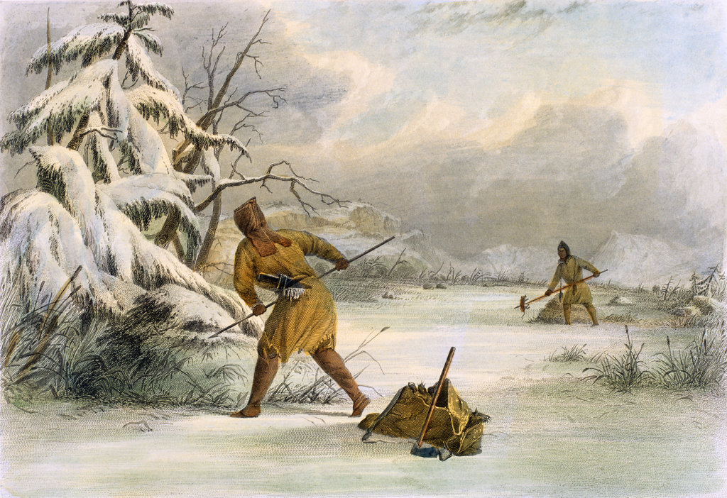 "Stock Photo: 1095-1296 Spearing Muskrats in Winter(from ""The American Aboriginal Portfolio"" by Mary Eastman) 1853