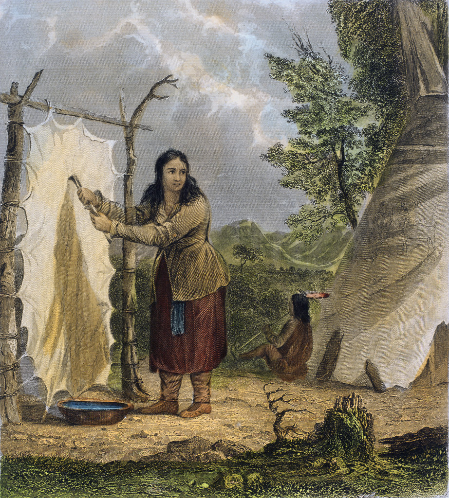 "Stock Photo: 1095-1300 Indian Woman Dressing A Buffalo Skin(from ""The American Aboriginal Portfolio"" by Mary Eastman) 1853
