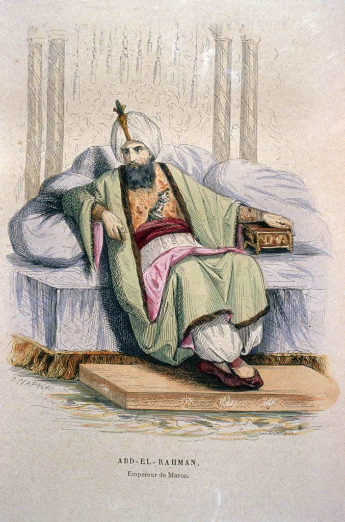Moulay Sharif Abd-er-Rahman,  sultan of Morocco by Artist Unknown (From L'Afrique L'Empire De Maroc by P. Christian),  1846,  USA,  Chicago,  Newberry Library : Stock Photo